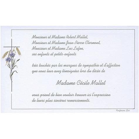 modele carte remerciement deces carte de remerciement d 233 c 232 s deuil 233 railles