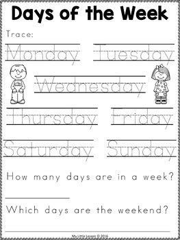 days   week worksheets    lesson tpt