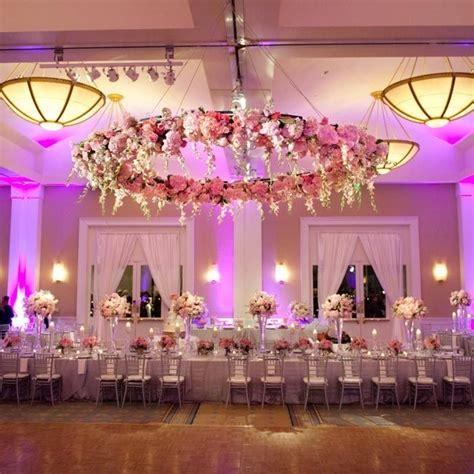 large floral halo hanging   dance floor randy