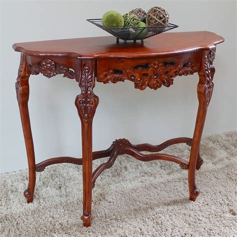 The half moon tables are sold separately. International Caravan Windsor Ornately Hand-carved Wood Half-moon Wall Table - 16190715 ...