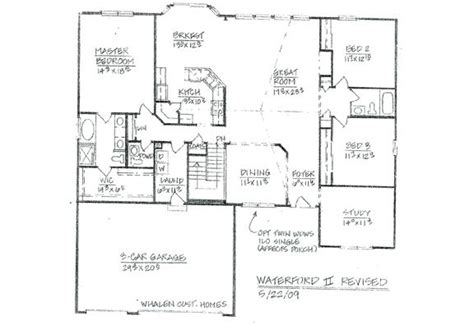 Custom Ranch Floor Plans by 3 Bedroom Ranch Floor Plans Custom Homes Waterford