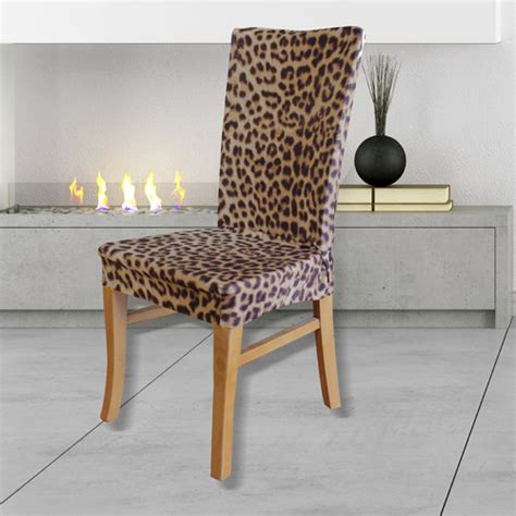 statement prints leopard dining chair cover temple webster