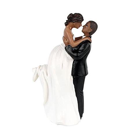 groom lift bride african american wedding cake topper