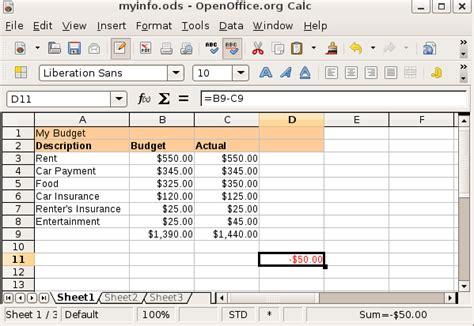 create a spreadsheet openoffice documents