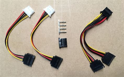 Dual SATA Power to 4-pin Molex Power Adapter Cable ...