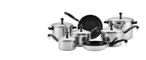 farberware classic series stainless steel cookware pots  pans set  piece silver