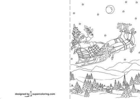 santa claus flying   sleigh pulled  christmas reindeers card coloring page