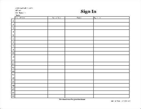 free easy copy simple company patient sign in sheet with