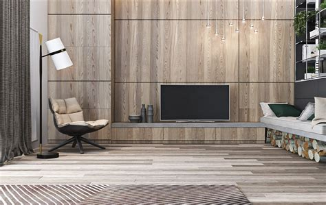 A Tour Of 4 Homes With Comfortable Wood Wall Treatments : Living Room Modern Wood Wall Conceptive Paneling Livingoom