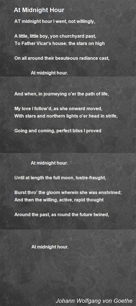 midnight hour poem  johann wolfgang von goethe poem