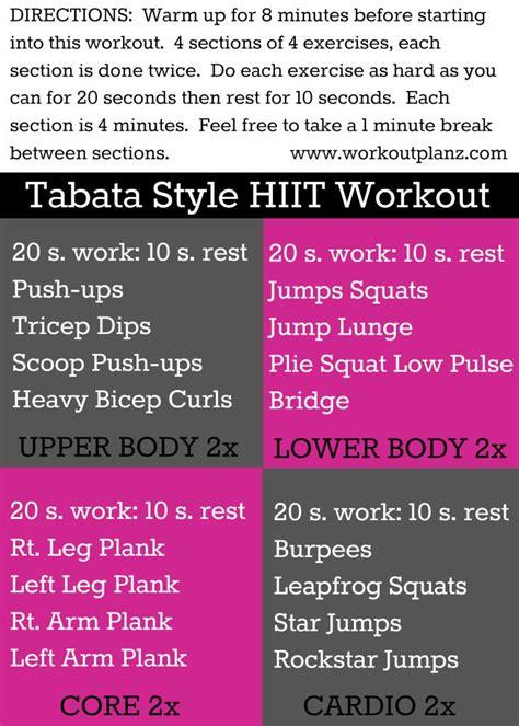 Tabata Style Hiit Strength Workout Pinterest