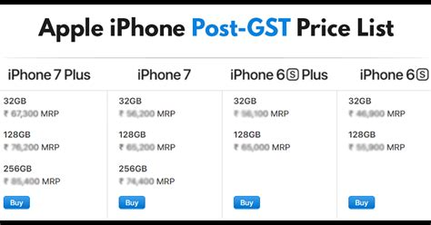 apple iphone price list post gst apple iphone price list maxabout news