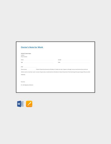 doctors note  work template   notes  word