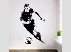 POOMOO Wall Stickers New Caved Football Player Lionel