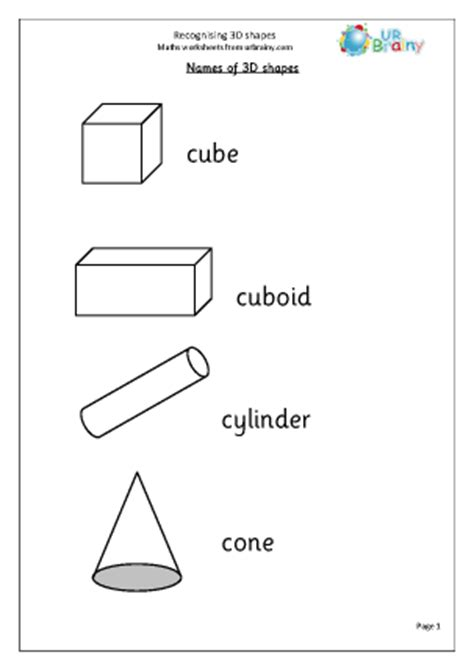 recognising 3d shapes geometry shape maths worksheets for year 1 age 5 6