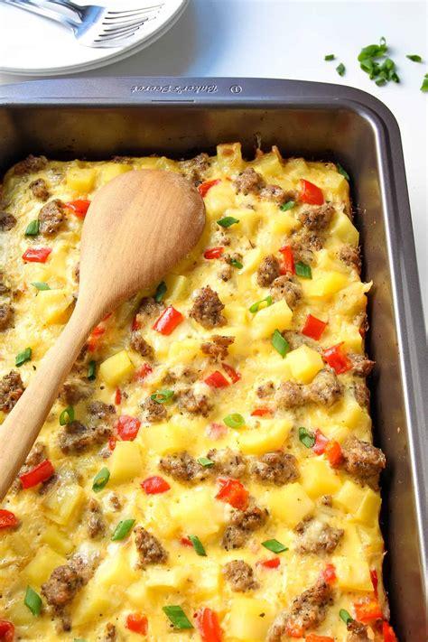 breakfast casserole with breakfast casserole with eggs potatoes and sausage video leelalicious