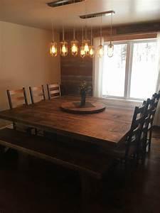 Table En Bois Carré : table carr e bois de pin recycl table sur mesure bois massif ~ Teatrodelosmanantiales.com Idées de Décoration
