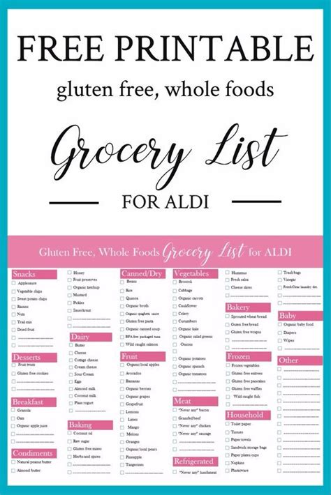 printable gluten   foods grocery list