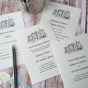 illustrated wedding venue invitations wagtail designs With wedding invitations venue address