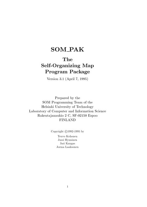 (PDF) SOM PAK: The self-organizing map program package