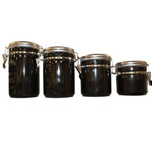 black kitchen canister sets anchor hocking 4 ceramic canister set in black 03923mr the home depot
