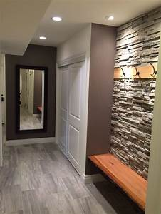 Our new entry hallway and guest bathroom