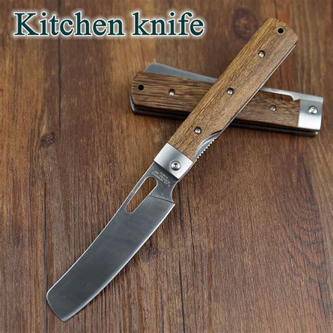 folding kitchen knives 440a pocket folding kitchen chef knife table knife high quality dark tagayasan wood steel guard