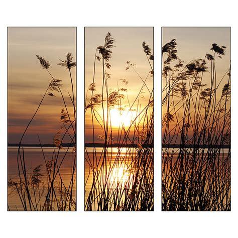 Glasbilder Mit Rahmen by Glasbild Abendsonne 3 Tlg Je 30 X 80 Cm Glasbilder