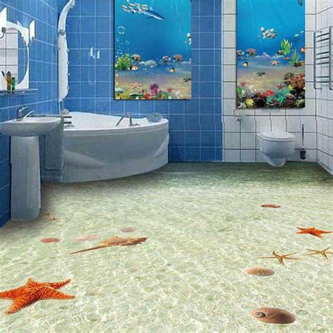 3d non slip floor wall paper pvc bathroom flooring wall paper starfish floor tile