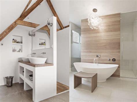 chambre sous les toits une salle de bains en blanc et bois joli place