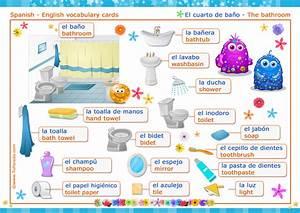 El cuarto de baño The bathroom Vocabulario español inglés, tarjetas