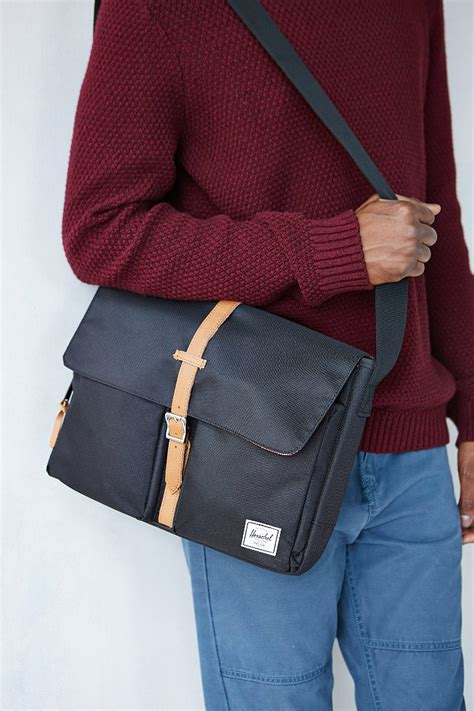 lyst herschel supply  columbia messenger bag  black  men