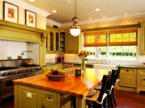 modern kitchens decorated  yellow  green colors