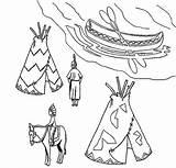 Native Coloring American Canoe Village Teepee Ojibwe Pages Symbols Indian Birchbark Horse Netart sketch template