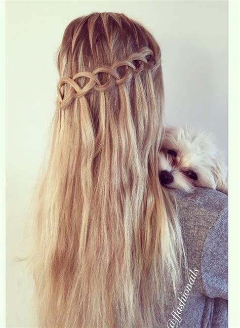 loop waterfall braid hairstyles