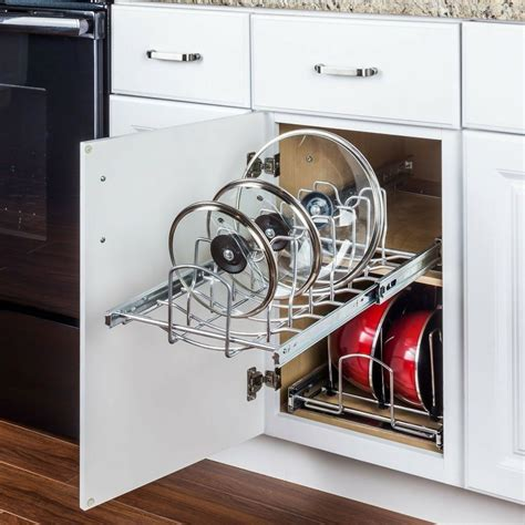 organizer lid pots pans cabinet pull kitchen base storage cookware pullout organization kitchendecorpad pan organizers cabinets minute elements hardware resources