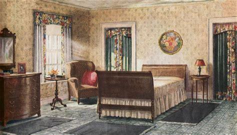 1920s home interiors 1921 armstrong bedroom linoleum floors dark sage buff scheme