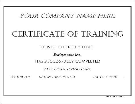certificate  training form