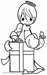 Coloring Angel Pages Xmas Christmas Printable Precious Moments Present Colorear Para Dibujos Boy sketch template