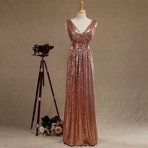 2016 rose gold bridesmaid dress long gold sequin wedding With metallic wedding dress