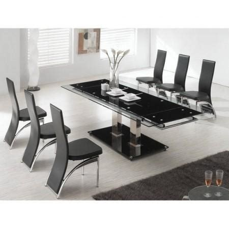 fu nicha black glass extending dining table and 8 chairs