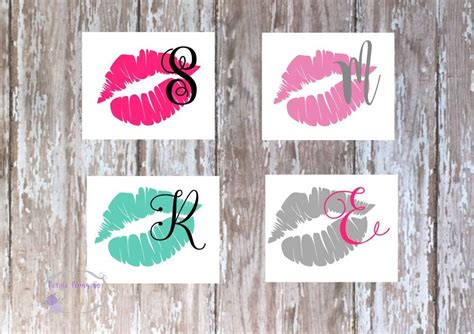 lips  initial decal girly decal tumbler decal decals etsy girly car decals initials