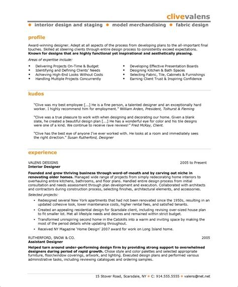 design resume summary interior designer free resume sles blue sky resumes