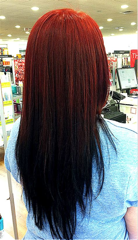 Reverse Ombré Red To Black Fade Hair Hair And Fashion