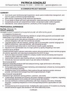 resume for an e commerce project manager susan ireland With ecommerce resume sample