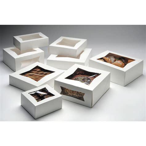 "Rectangular White Paper Bakery Box With Window  8""l X 5 3"