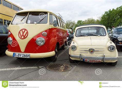 Small Car Fiat Abarth 750 And Minibus Volkswagen Type 2