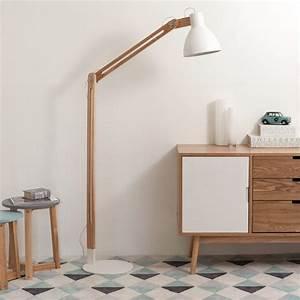 Lampadaire Bois Metal : lampadaire en bois et m tal blanc h 175 cm d co new appart pinterest bois lampadaire bois ~ Teatrodelosmanantiales.com Idées de Décoration