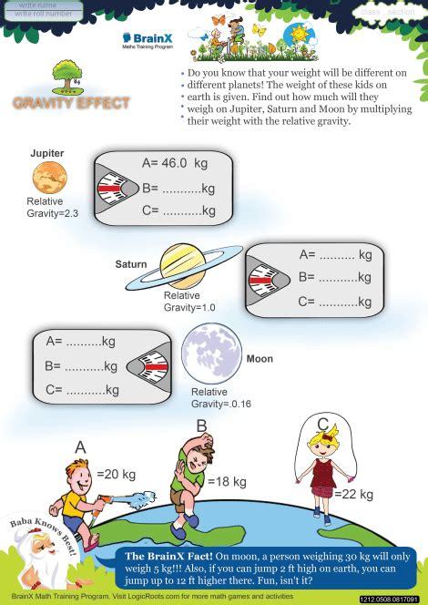 of gravity worksheet gravity effect math worksheet for grade 5 free