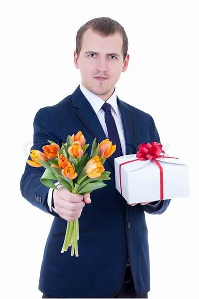 Giving Flowers Gift Romantic Box Background Isolated